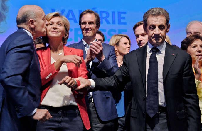 Valérie Pécresse, avec Alain Juppé et Nicolas Sarkozy, lors d'un meeting pour les élections régionales, en 2015.