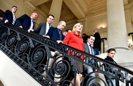 Marine Le Pen mardi 18octobre, à «Planète PME», dans les salons du palais Brongniart, à Paris.