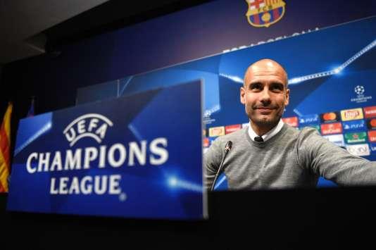 Pep Guardiola, l'entraîneur de Manchester City, lors d'une conférence de presse le 18 octobre.