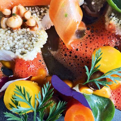Filet de merlan à l'unilatérale au mijinko et carotte colorée.