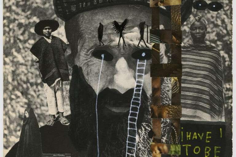 Mohamed Baala, série «The time in my brain» Courtesy Galerie127, Marrakech18 pages d'un livre d'histoire portant sur le colonialisme avec intervention au feutre, découpage et collage.