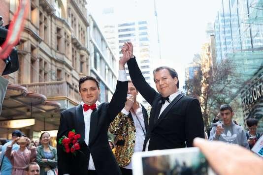 En Australie, le mariage est toujours légalement défini comme l'union entre un homme et une femme(ici, une manifestation à Sydney en 2016).