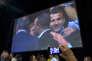 """Emmanuel Macron anime un meeting de son mouvement """"En marche!"""" au Zénith de Montpellier, le 18 octobre."""
