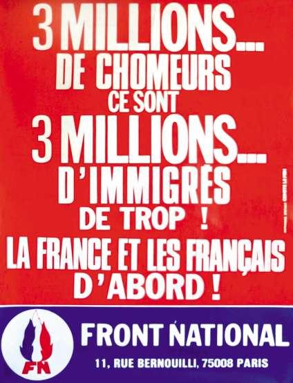 Une affiche revendiquant les priorités du Front National en 1982.