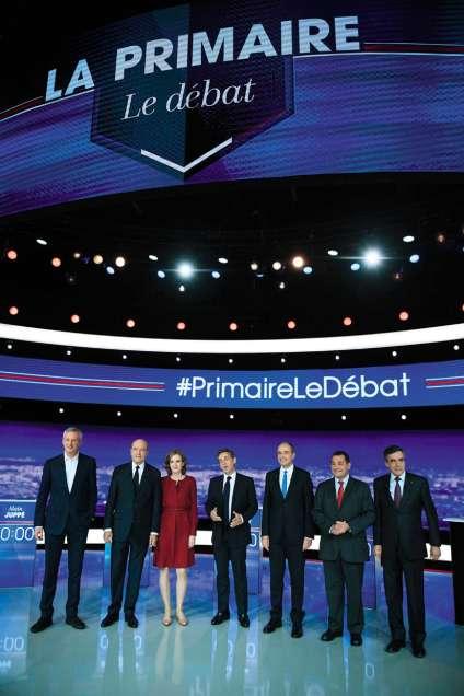 Les sept candidats à la primaire de droite à l'occasion du premier débat télévisé, le 13 octobre 2016, sur TF1.