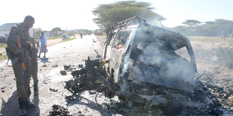 A Afgoye, à 30 km de Mogadiscio, après unattentat-suicide perpétré par les rebelles islamistes du groupe Al-Chabab, enseptembre 2014.