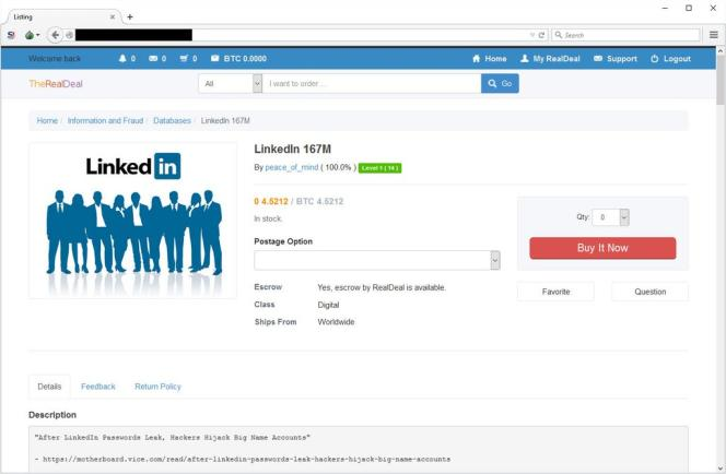 Copie d'écran de la mise en vente des 167 millions de comptes LinkedIn sur le Dark Net.