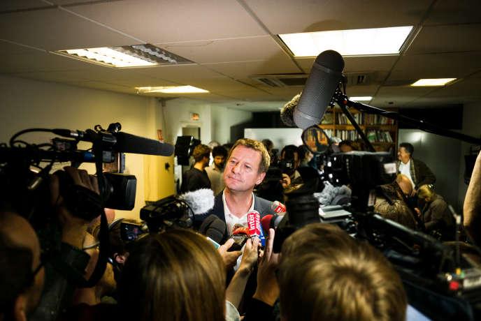 Yannick Jadot le soir du premier tour de la primaire d'EELV, le 19 octobre.