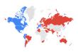 En bleu, les régions où les internautes font davantage de recherches en ligne sur«Nintendo NX», en rouge, celles où«Red Dead Redemption» ressort le plus.