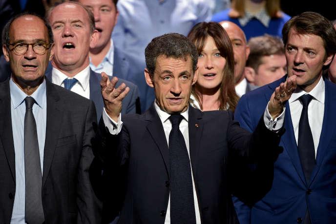 Nicolas Sarkozy en meeting au au Zénith à Paris le 9 octobre 2016.