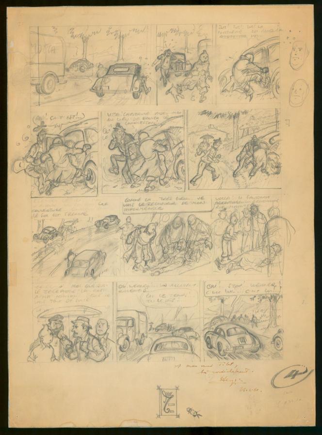 La planche numéro 4 de «Tintin et le Thermozéro», un album inachevé d'Hergé qui a longtemps fait fantasmer les milieux tintinophiles, sera mise en vente par Christie's, le 19 novembre.