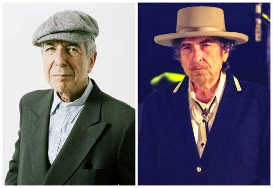 Cohen (à g.) et Dylan, deux monuments, deux rivaux, deux amis.