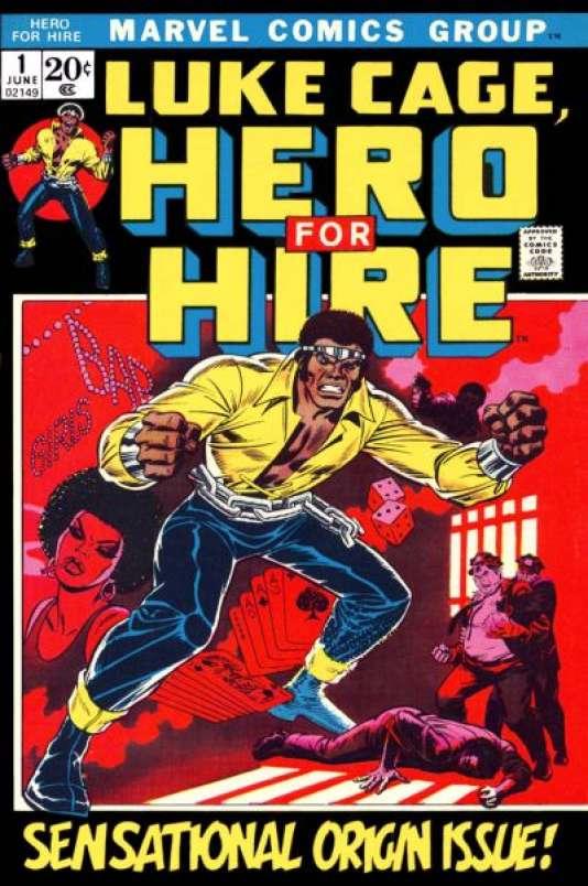 Une couverture de Luke Cage, « héros à louer», avec son look d'autrefois.
