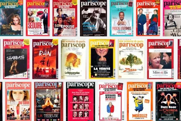 Un montage de couvertures de l'hebdomadaire des sorties culturelles,« Pariscope».