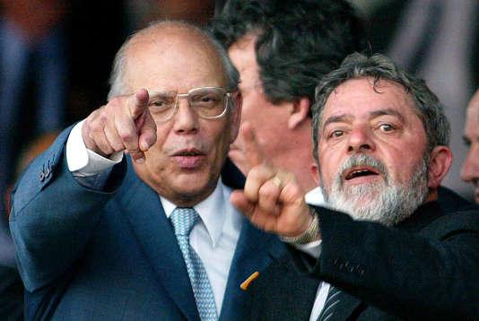 Jorge Batlle (à gauche) avec le président brésilien Lula, en 2003.