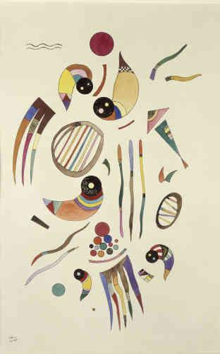 «A Neuilly, en manque de toiles, Kandinsky multiplie les dessins et aquarelles sur papier. Il en réalise des centaines au cours des années parisiennes. Avec ces animalcules colorés qui tourbillonnent dans l'éther, cette petite composition est d'une fraîcheur inédite et un véritable hymne à une jeunesse retrouvée.»