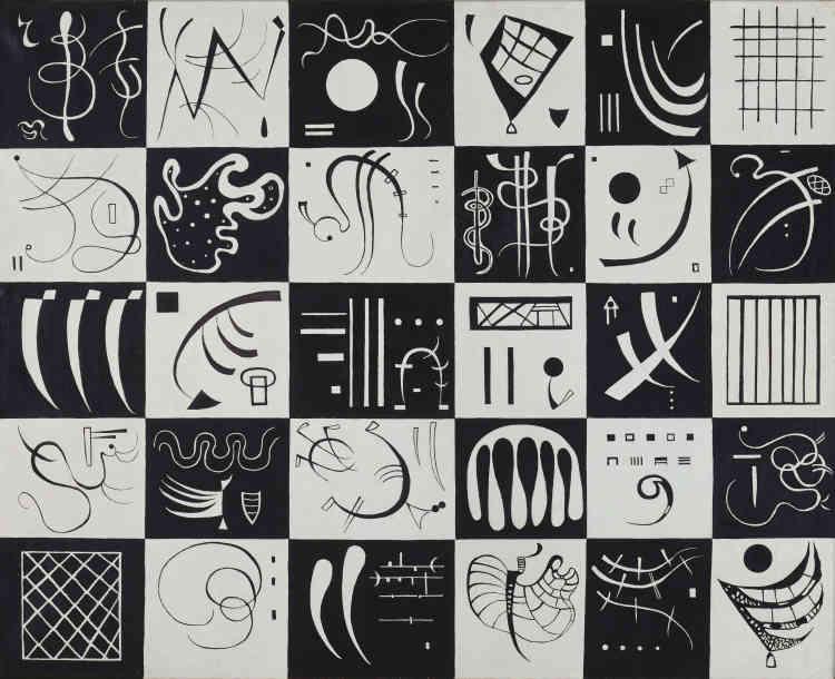 «Constitué de trente petits tableaux miniatures en noir et blanc, cet abécédaire en forme de damier est à l'image du nouveau vocabulaire formel établi par Kandinsky à Paris, libre association de formes géométriques et biomorphiques. Discret pied-de-nez au suprématisme de Malevitch, il privilégie le multiple contre l'épure défendue par les abstraits géométriques.»