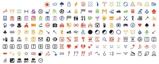 Les emojis conçus parShigetaka Kurita.