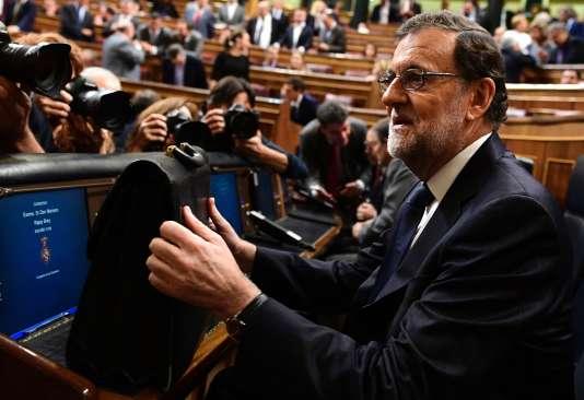 Le premier ministre Mariano Rajoy, au Parlement espagnol, le 27 octobre, à Madrid.