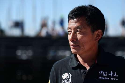 Le skipper chinois Guo Chuan le 8 août 2015 à La Trinité-sur-Mer.