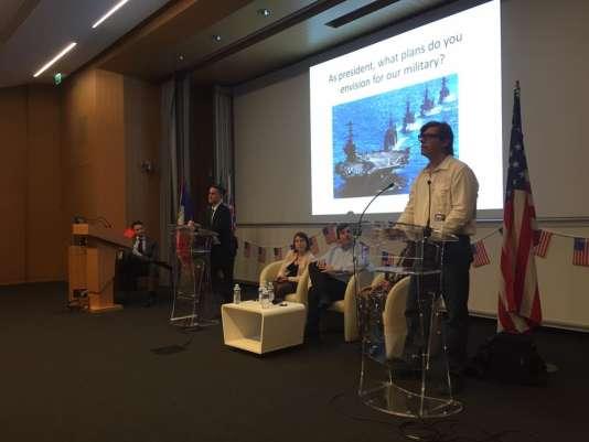 Le débat organisé à l'ESCP Europe, mercredi 26octobre, à Paris, entre représentants des partis républicain et démocrate.