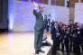 François Hollande, président de la république prononce un discours à l'occasion de la célébration du centenaire de François Mitterrand, au musée du Louvre, mercredi 26 octobre 2016