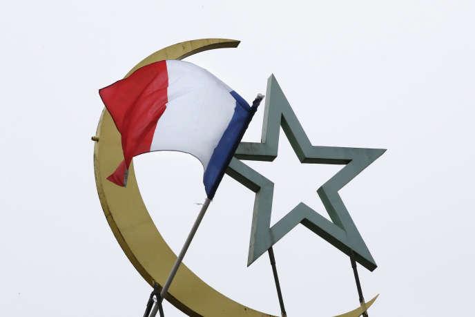 drapeau français au dessus de la mosquée de Paris en 2015.