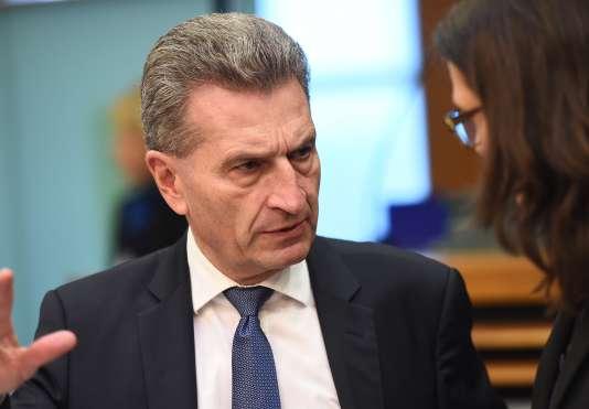 Günther Oettinger, le 13 janvier à Bruxelles.