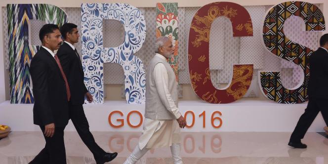 Le premier ministre indien, Narendra Modi, lors du Sommet des Brics à Goa, en inde, le 16 octobre 2016.