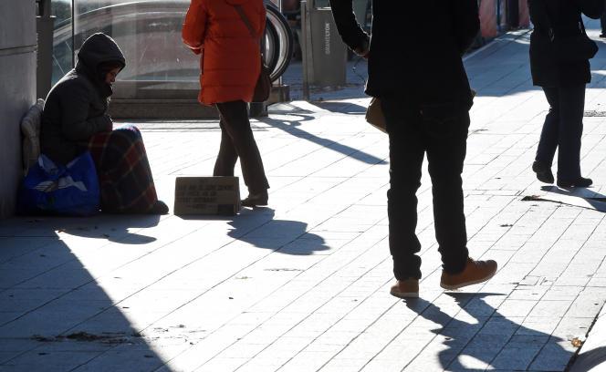 Un sans-abri, à Lyon, en décembre 2014.