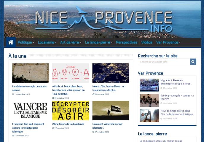Capture écran du vrai faux site d'informations locales Nice Provence Info.