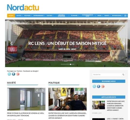 Capture d'écran du vrai faux site d'informations locales nordactu.fr.