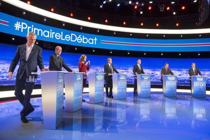 Les sept candidats lors du premier débat de la primaire de la droite et du centre à Saint-Denis, le 13 octobre.
