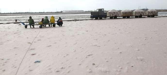 Un train transportant du sel de mer à Yevpatoria, en Crimée, en octobre 2015.
