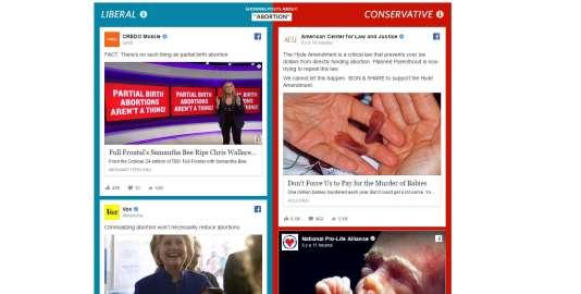 Comparatif d'un fil Facebook «conservateur» et d'un fil « libéral», par le «Wall Street Journal»