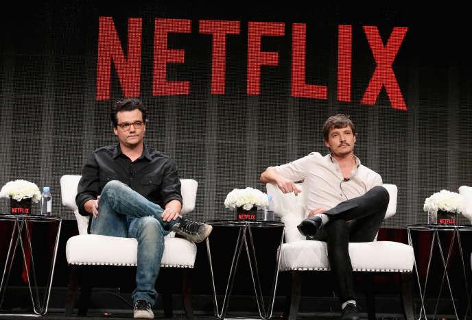 Les acteurs de Narcos, Wagner Moura and Pedro Pascal, en 2015 à Beverly Hills.