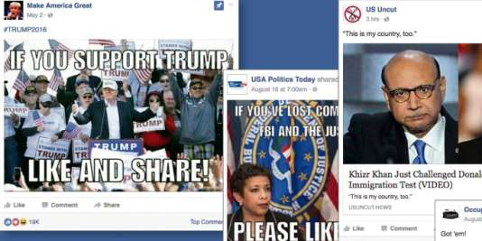 Captures d'écran de pages militantes américaines (NYTimes Magazine)