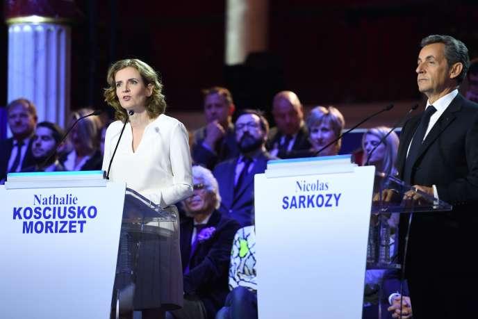 Nathalie Kosciusko-Morizet et Nicolas Sarkozy, candidats à la primaire à droite, lors du débat télévisé du 3 novembre.
