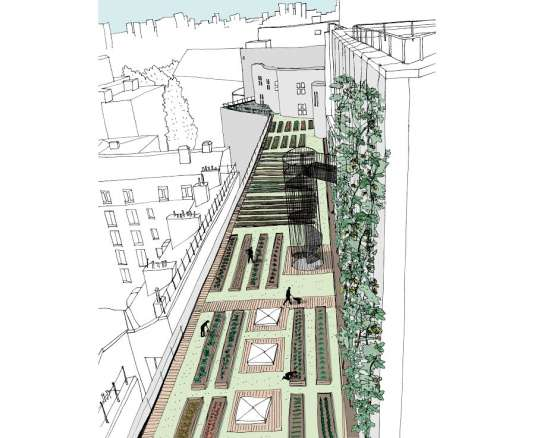 Perspective de la ferme maraîchère qui cultivera, sur les toits-terrasses de l'Opéra Bastille, des fruits et légumes, et du houblon pour faire de la bière.