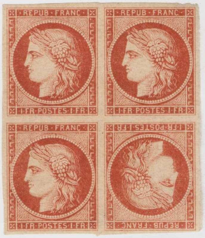 Bloc de quatre avec tête-bêche (une erreur d'impression) du 1 franc vermillon vif, à l'effigie de Cérès, émis en 1849, vendu 924 000 euros en novembre 2003.