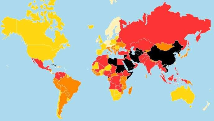 Classement mondial de la liberté de la presse en 2016 par l'association Reporters sans frontières.
