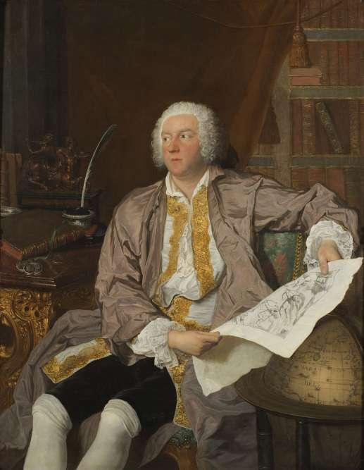 Un portrait du comte Carl Gustav Tessin, jeune, en tenue romantique décontractée, étudiant une feuille dessinée, son passe-temps favori.