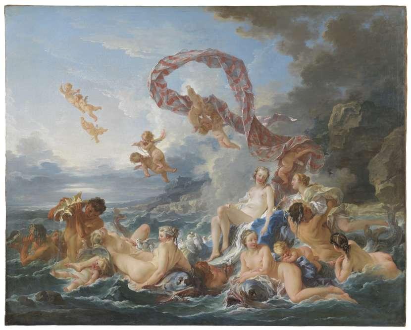 Montré à Paris au Salon de 1740, c'est le premier retour dans la capitale du Triomphe de Vénus de François Boucher.