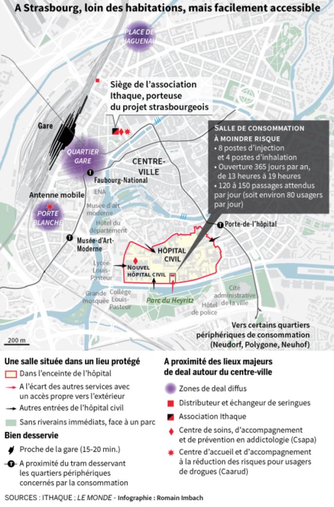 A Strasbourg, une «salle de shoot» isolée des habitations, mais facilement accessible.