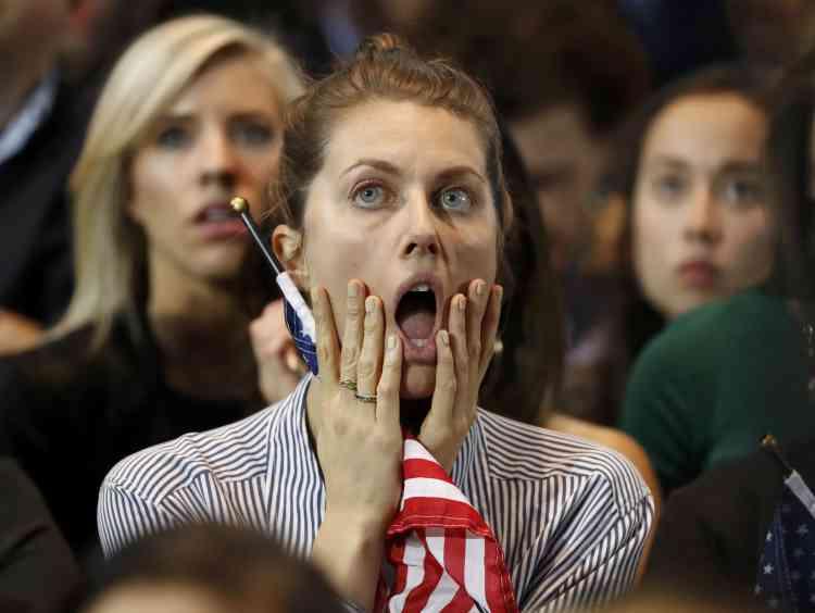Une supportrice de la candidate démocrate, à l'annonce des premiers résultats, à New York.