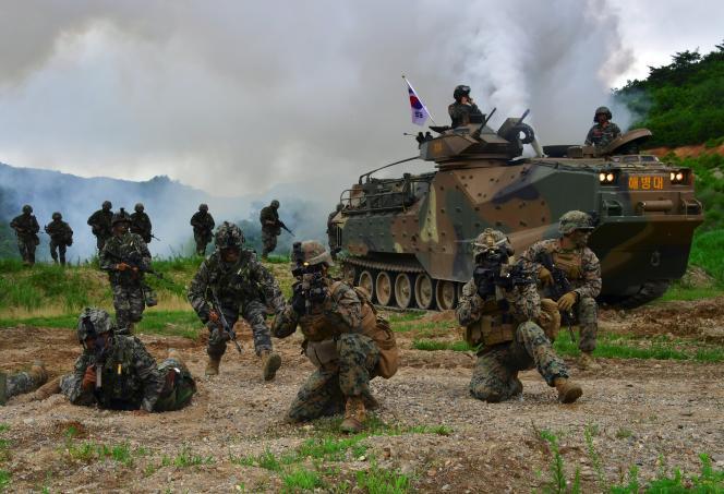 Un exercice conjoint des forces américaines et sud-coréennes à Pohang, en juillet 2016.