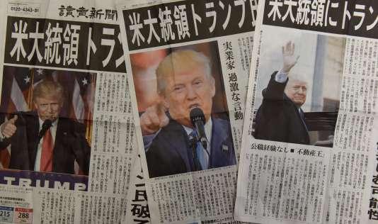 Les éditions du 9 novembre des médias japonais après la victoire de Donald Trump à la présidentielle américaine.