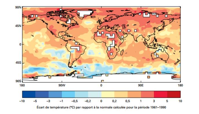 Anomalies de la température moyenne entre 2011 et 2015 pour l'ensemble du globe, par rapport à la période de référence 1961-1990.