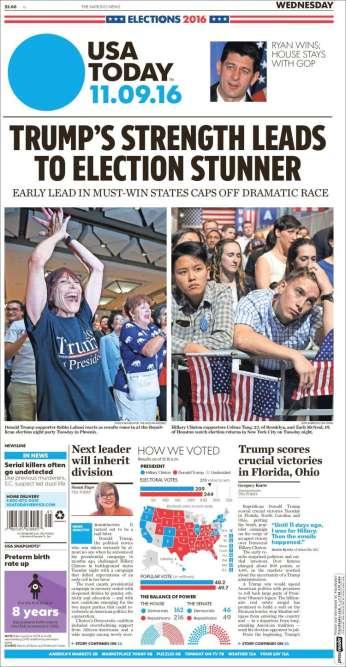 Le quotidien américain« USA Today» évoque le tour de force de Trump et des élections choc.