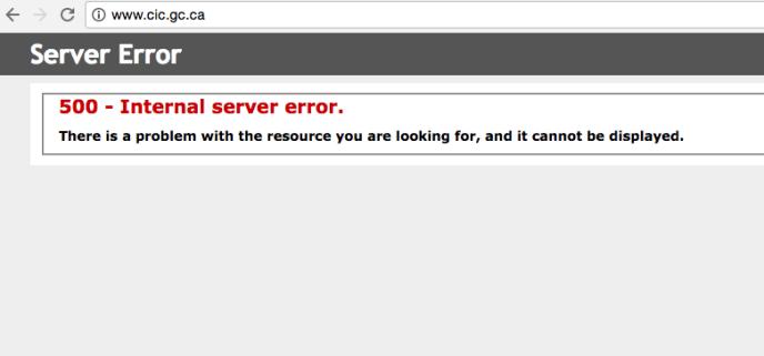 Capture d'écran du site de l'immigration canadienne mercredi 9 novembre à 6 heures du matin, heure de Paris.